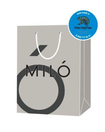 Пакет подарочный, бумажный, 20*25, 200 гр.,с люверсами, ручка шнур, с логотипом MILO, Москва