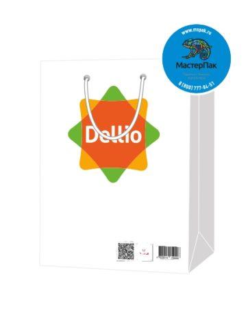 Пакет подарочный, бумажный, 30*40, 200 гр.,с люверсами, ручка шнур, с логотипом DELLIO, Санкт-Петербург